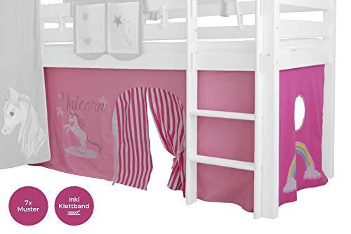 XXL Discount Vorhang 3-teilig für Mädchen 100% Baumwolle Stoffvorhang Bettvorhang inkl Klettband für Hochbett Spielbett Etagenbett Stockbett Kinderbett (Rosa/Pink, Einhorn)