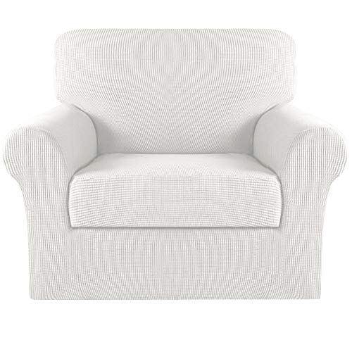 Turquoize 2 Piece Stretch Sofa Covers Chair Cover Couch Covers Slipcovers Including Base Cover and Individual Seat Cushion Covers, Thick Jacquard Customized Fitting (Small, Off White)