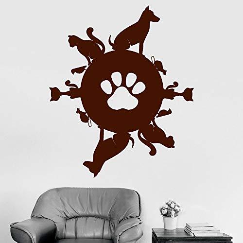 wZUN Pet Planet Wandtattoo Vinyl Aufkleber Tier Tierhandlung Innendekoration Katze Hund Vogel niedliche Kunst abnehmbar 42X50cm