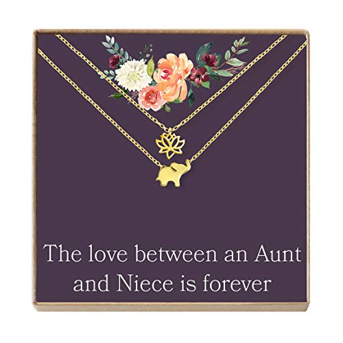 Aunt-Niece Necklace: Aunt-Niece Gift, Aunt-Niece Jewelry, Aunt-Niece Quotes (Lotus and Elephant Gold)