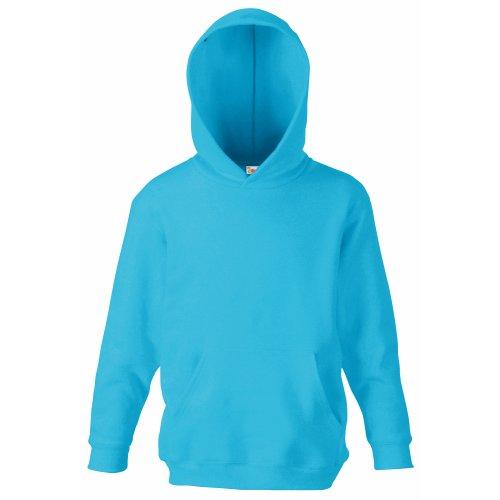Unisex-Kapuzen-Sweatshirt/Hoodie für Kinder von Fruit of the Loom Gr. 5 Jahre, azurblau