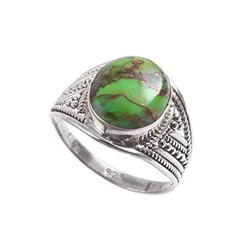 Anillo de plata de ley 925 | Anillo de piedras preciosas de Turquesa natural para mujer | Anillo de diseño turco para niñas | Anillo de compromiso, Anillo de Turquesa | Tamaño del anillo 17