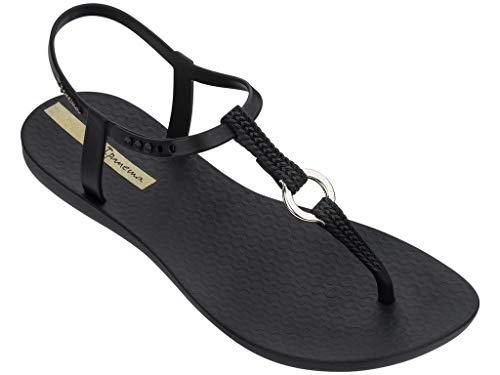 Ipanema Damen Charm Sandale 23 Black Link Flats, Schwarz - Schwarz  - Größe: 41 EU