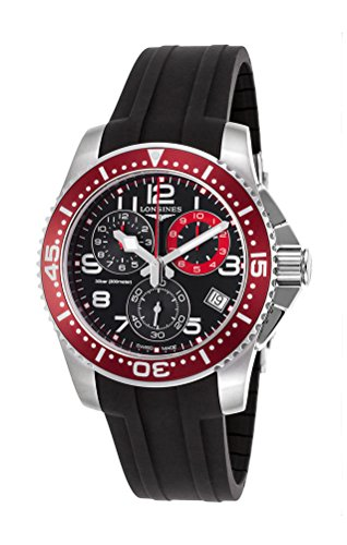Longines Hydroconquest Quartz Chronograph Steel Mens Watch Red Bezel L3.690.4.59.2