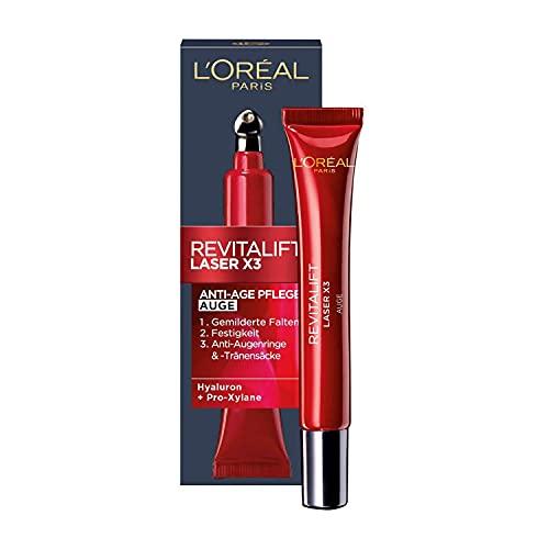 L\'Oréal Paris Augenpflege, Revitalift Laser X3, Anti-Aging Augencreme mit 3-fach Wirkung, Hyaluronsäure, 15 ml