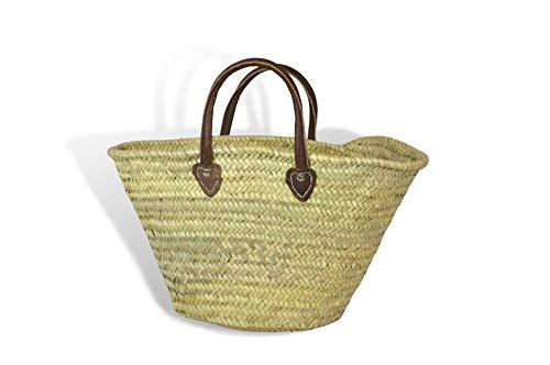 MAISON ANDALUZ Medium Large Moroccan hand market Basket - Dark brown short Leather Handles - W54 D20 H32