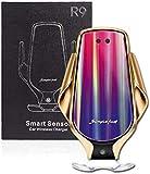 Cargador inalámbrico R9 para coche con sensor de infrarrojos – Carga rápida de hasta 10w con sujeción automática – Sujeción flexible y rotación 360º - Compatible con la mayoría de smartphones – (Oro)