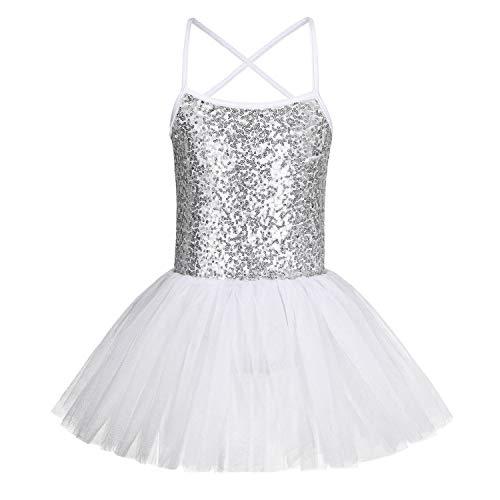 FONLAM Vestito Body da Balletto Danza per Bambine Ragazze Abiti Leotard Ballet Tutu Ginnastica Ragazza Paillettes (Bianca, 3-4 Anni)
