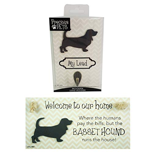 Precious-Pets Hundeschild und Hundeleine Hakenpackung, Korbhund, lustige Schilder, Geschenk für Mütter, Hundezubehör, Hausmaterial