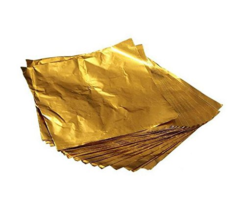 100PCS 4''X4'' Square Gold Aluminium Foil Paper Candy and Chocolate Wrappers for Packaging Dessert or Sweety Food