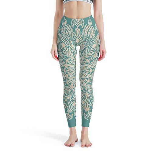 Dogedou lange hoge taille yoga sportbroek dames teal linnen mandala vrouwenbroek voor bont wit XL