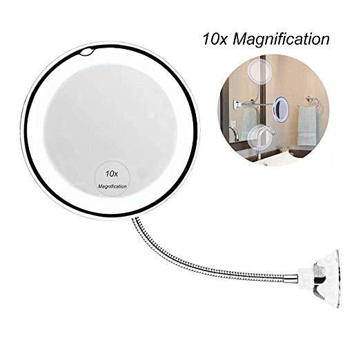 Kosmetikspiegel mit LED Licht,360° Drehbarer Kosmetikspiegel Mit Saugnapf,10x Vergrößerter Beleuchtung Schminkspiegel,Edelstahl,für Zuhause und Unterwegs