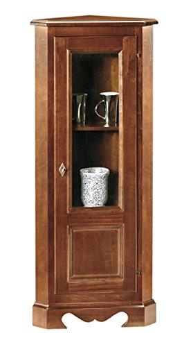 Lo Scrigno Arredamenti, Angoliera 1 Porta Vetro Classica Tinta Noce W395/N