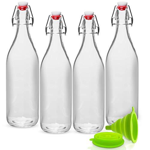 GUADONA Pack de 4 botellas de vidrio transparente de 1 litro de bebida (agua, jugo, leche, cerveza, etc.) con tapas giratorias antifugas + Embudo plegable de silicona