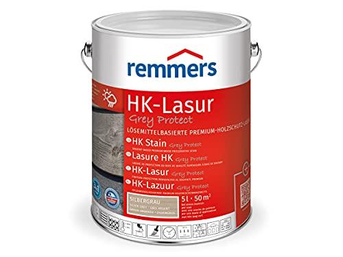 Remmers HK-Lasur Grey-Protect silbergrau, 5 Liter, Premium Holzlasur für außen, Vergrauung über natürliche Grautöne, 3 Holzschutz Produkte in einem, Holzschutz vor Feuchtigkeit, UV-Schutz