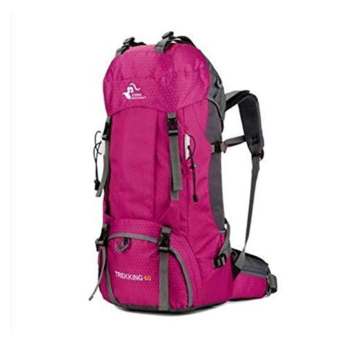 Youpin 60L Hombre y Mujer Senderismo Camping Mochilas Impermeable Caminata Viaje Al Aire Libre Bolsa Para Escalada Trekking Deportes Mochila Bolsas Cubierta de Lluvia (Color: Rosa)