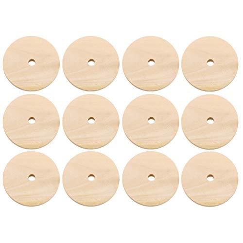 Artibetter 1 Paquete / 50 Piezas Colgantes de Círculo de Madera Discos Redondos de Madera Discos de Madera Redondos en Blanco sin Terminar para Decoración Artesanal de Bricolaje (40 Mm)