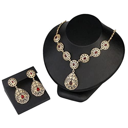 JIUDELE Argelia Marruecos joyería nupcial conjuntos para mujeres cristal boda Bijoux indio color oro brazalete anillo pendiente collar