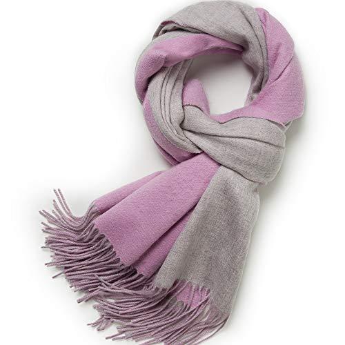 Juliana Ross Kaschmirschal zweifarbiger breiter Damen Schal, doppelseitig, 30% Cashmere, Kaschmir Stola, Pashmina, Tuch (rosa-grau)