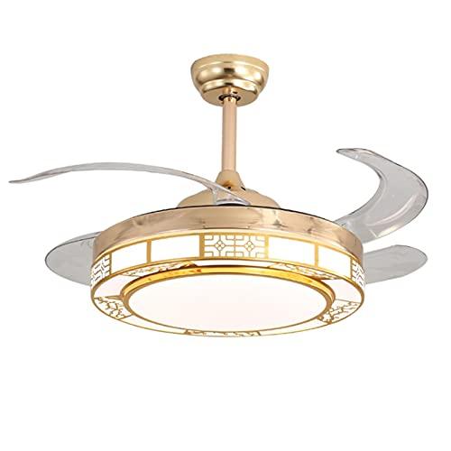 Araña con viento eléctrico, luz de ventilador, control remoto Invisible LED Techo Ventilador Luz, Dormitorio Comedor Comedor Luz, Sala de estar