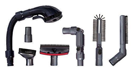Turbotronic TT-7PCK Universele Pro Cleaning Kit set 7 - delig, hondenborstel, draaibare stofborstel, kierborstel, diepe reinigingsborstel, radiatorborstel, 32 tot 35mm stofzuigerslang adaptor-zwart