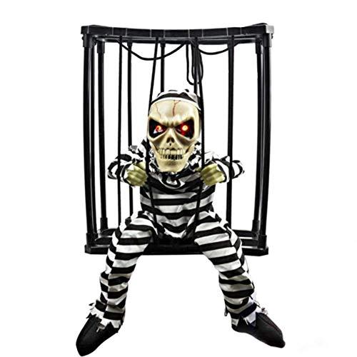 D-Fokes Halloween Haunted House Motion Sensor Light Up Talking Skeleton Prisoner Cage Terror Decoration Toy (Style1)