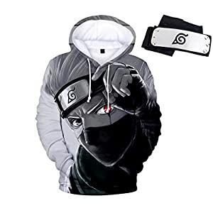 Naruto Kakashi Men Pullover Hoodie Sweatshirt with Kangaroo Pocket, Free Headband