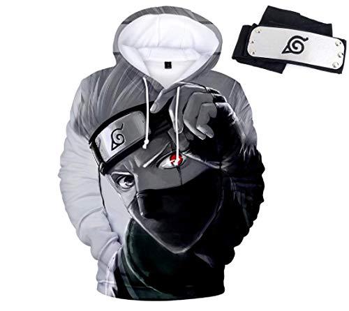 Naruto Kakashi Herren Kapuzenpullover Sweatshirt mit Kängurutasche, gratis Stirnband - mehrfarbig - X-Groß