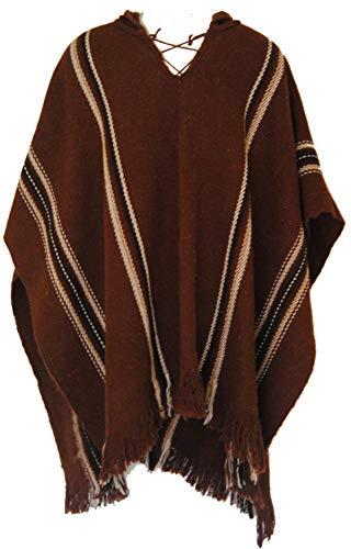 Fair-Trade-Herren-Alpaka-Wolle Woollen Poncho aus Bolivien (braun)