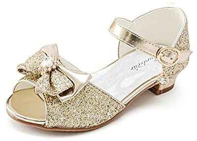 Fureour High Heels for Kids Toddler Mary Jane Sandala Girls Dress Shoes Glittler Kitten Heel Sandals Flower Girls Bridesmaid Party Shoes Size 11 (Gold 11)