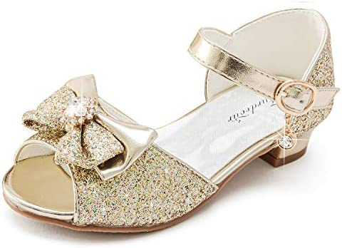 Furdeour Toddler Dress up Shoes Girls Gold Sparkly Formal Sandals High Heels for Kids Size 8 product image