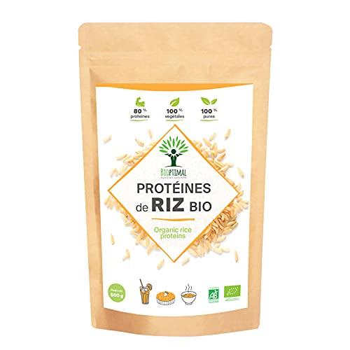 Protéine de Riz Bio - Bioptimal - 80% de Protéines - 12% de BCAA - Energie Sport Musculation - Poudre de Riz Brun Germé - 100% Pur - Whey Végétale - Conditionné en France - Certifié Ecocert