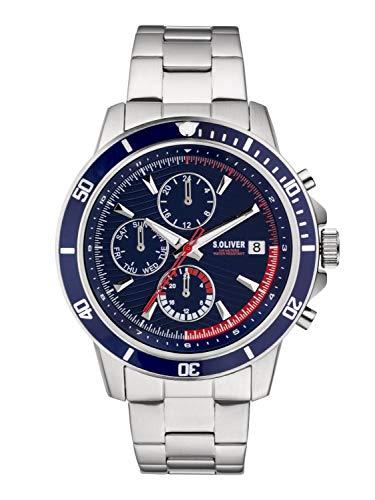 s.Oliver Herren Chronograph Quarz Uhr mit Edelstahl Armband SO-3859-MC