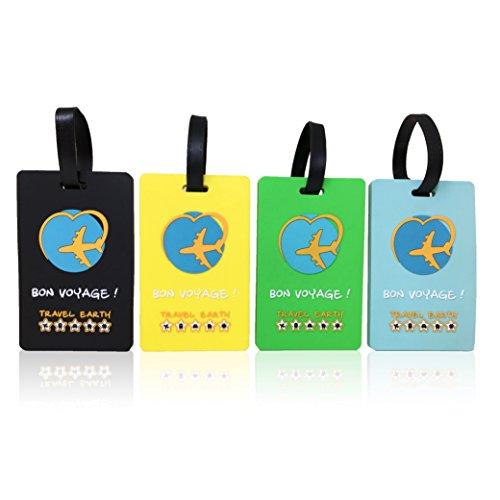 Kofferanhänger ✮ Travel Earth® ✮ Packung bestehend aus 4 Kofferanhängern mit Befestigungsgurt für Reisetaschen oder Koffer. GRATIS: 30 persönlich gestaltbare Adressschildchen Ideal fürs Flugzeug