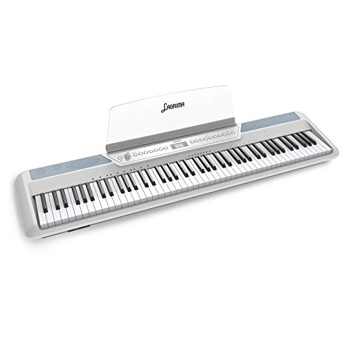 LAGRIMA LAG-570 Full Size Weighted Key Portable Digital Piano, 88 Key Electric Keyboard Piano for Beginner/Adults with Bluetooth, Headphone, Sustain Pedal, Power Supply, Music Stand, White(No Stand))