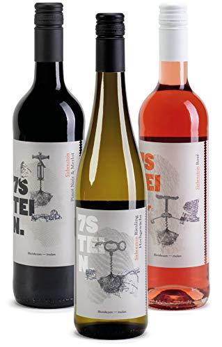 7STEIN Probierpaket Sonnenuntergang - 1 Weißwein, 1 Roséwein und 1 Rotwein - 3 erstklassige Weine für genussvolle Abendstunden 2019 trocken (3 x 0.75 l)