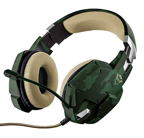 Trust Cuffie Gaming GXT 322C Carus con Microfono Flessibile, 3.5 mm Jack, Filo, Over Ear, PC, PS4, PS5, Xbox Series X, Xbox One, Switch, Verde Mimetico