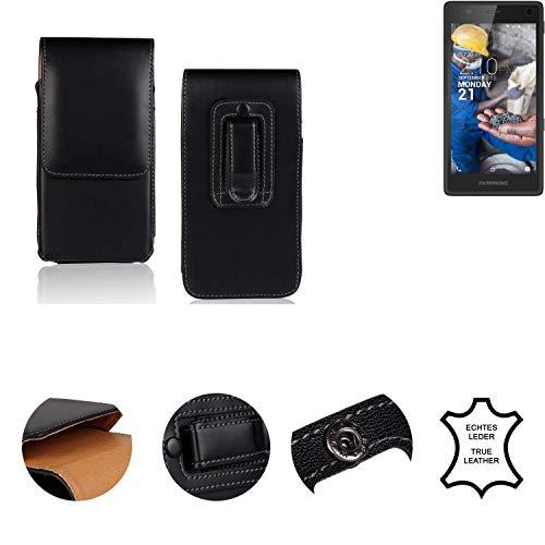 K-S-Trade® Holster Gürtel Tasche Für Fairphone Fairphone 2 Handy Hülle Leder Schwarz, 1x