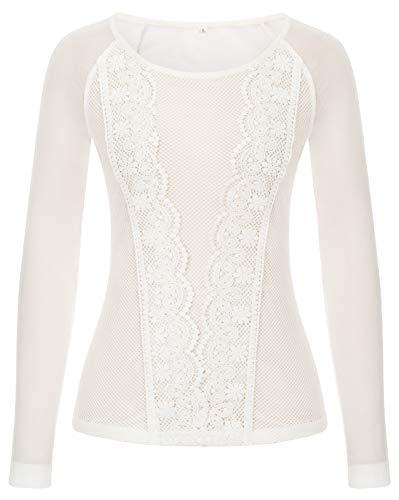 GRACE KARIN Donna Maglietta Trasparente Maniche Lunghe Casual Girocollo Camicetta Elegante Top Bianco L CLS02432-2