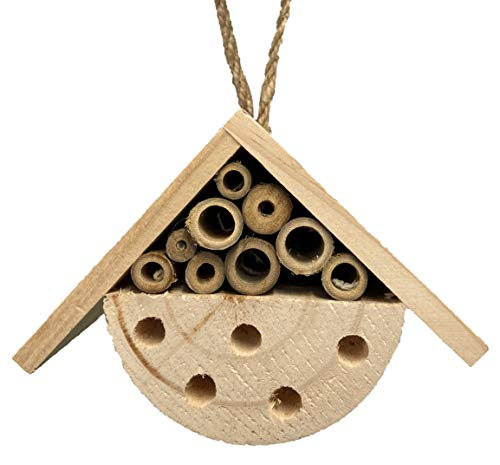 Quickdraw Small Hanging Natural Wooden Bee Butterfly & Insect Hotel Hive...