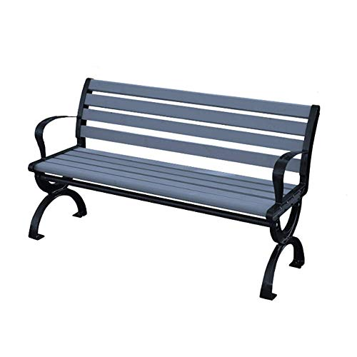 UWY Outdoor Bench Garden Terrace Bench, 3-seater Cast Iron Frame And Solid Wood Park Bench Porch Chair, Courtyard Balcony Bench With Backrest and Armrests, Load-bearing 1102lbs