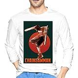 ブルームン Tシャツ 長袖 チェンソーマン トレーナー シャツ 上着 ファッション カットソー L White 綿 メンズ レディース