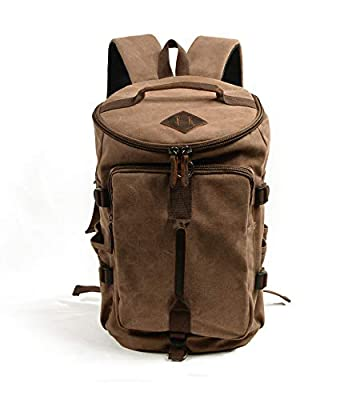 Jeelow Canvas Duffel Backpack For Men & Women Vintage Leather Travel School (Brown)