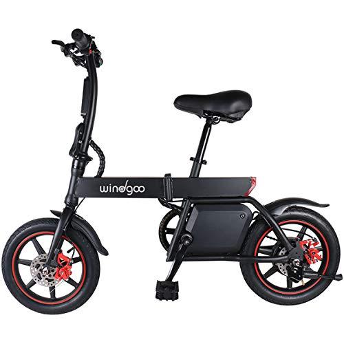 """Windgoo Bicicleta Eléctrica Plegables, 350W Motor Bicicleta Plegable 25 km/h y 25 km, Bici Electricas Adulto con Ruedas de 14"""", Batería 36V 6.0Ah, Asiento Ajustable, con Pedales"""