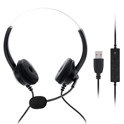 Haokaini USB-Headset mit Geräuschunterdrückendem Mikrofon Und Inline-Steuerung Leichtem Kabelgebundenen PC-Kopfhörer Business-Teaching-Headset für Skype Webinar Handy Callcenter