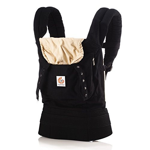 Ergobaby Original Award Winning Ergonomic Multi-Position Baby Carrier with X-Large Storage Pocket, Black Camel