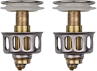 SAINGACE Universal Wash Basin Bounce Drain Filter, No Overflow Pop Up Bathroom Sink Drain Plug with Basket, Universal Kitchen Bathroom Strainer Sink Drain Stopper 1.38'' Diameter (2 Pcs)
