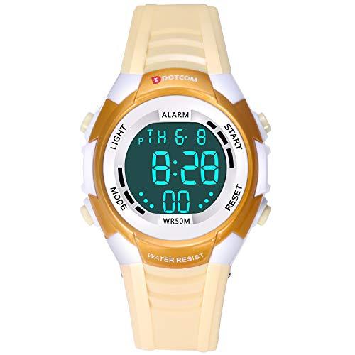 Relojes de Pulsera Electrónicos para Niños Niños Digital Relojes Deportes–5 ATM Reloj Deportivo Impermeable al Aire Libre con Alarma Cronómetro Luces de Colores de Fondo (Amarillo)