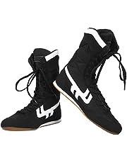 Jingyig Boksschoenen, sport lichtgewicht schoenen, met opbergtas hoge top enkel voor Taekwondo boksen (zwart)