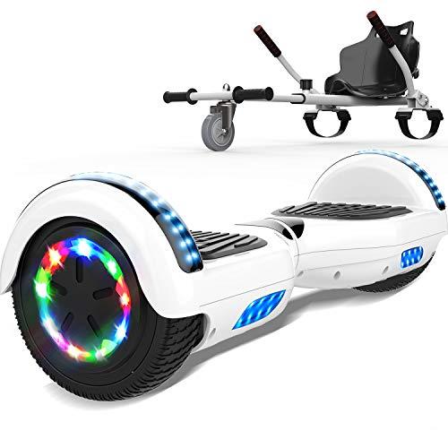 SOUTHERN WOLF Self-Balancing Scooter, Elektro Scooter 6,5zoll Hover Scooter Board Bluetooth Scooter mit bunten Lichter Bluetooth eingebaute Geschenk für z29 (White)